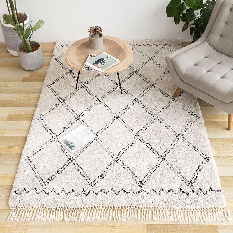 Super tapis Sophia marocain diamant gland Shag tapis couleur beige, maroc style tapis Beni Ourain,