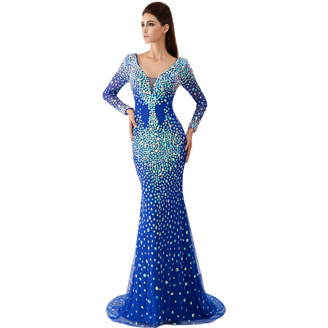 Royal Blue Mermaid Prom Dresses 2016 Evening Dresses Stones Long ...