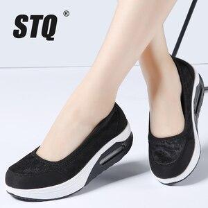 Image 5 - STQ 2020 Autumn Women Flat Platform Shoes Women Breathable Mesh Casual Sneakers Shoes Ladies Thick Sole Heel Slip On Shoes 9001