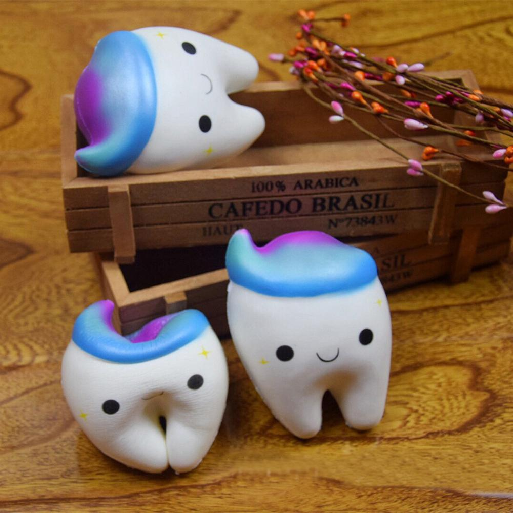 11.5CM Catoon Squeeze Rainbow Tooth Slow Rising Cool Starry Sky Tooth Squishies Tooth Antistress Toy Decor Squeeze Squish Toy