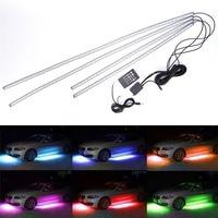 4X RGB LED Under Car Tube Strip Underbody Glow Neon Waterproof Light Kit Wireless Voice Control
