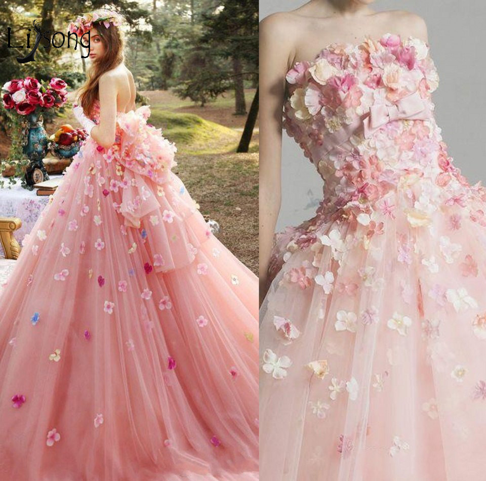 Romantic 3D Flower Pink Tutu Wedding Dresses 2018 Puffy Tulle Bridal Gowns  Off Shoulder Lace Up 55d6101a2aea