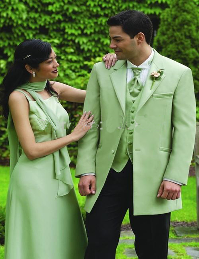 2016 Custom Made Mint Green Two Buttons Groom Tuxedos