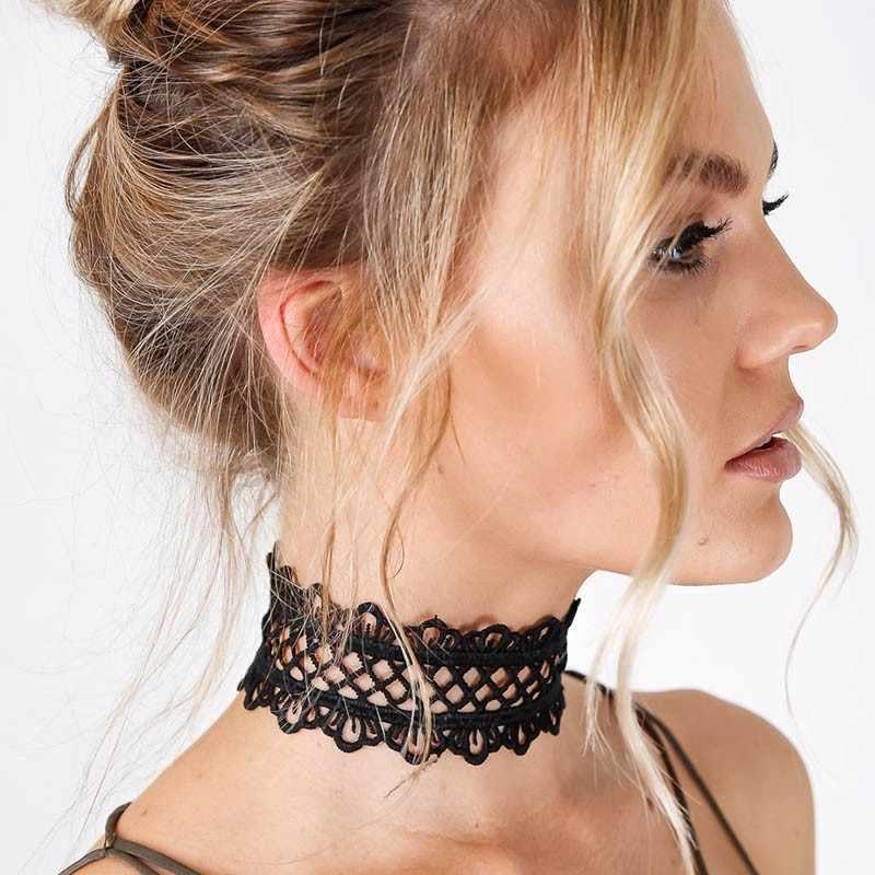 Hzew punk choker vòng cổ vòng cổ ngắn cổ điển sexy hollow out ren vòng cổ màu đen với chuỗi chic daisy flower necklace