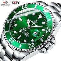 LAOGESHI Green Water Ghost Waterproof Watch Men Diamond Mechanical Watches Luminous 316L Stainless Steel Clock Football Memorial