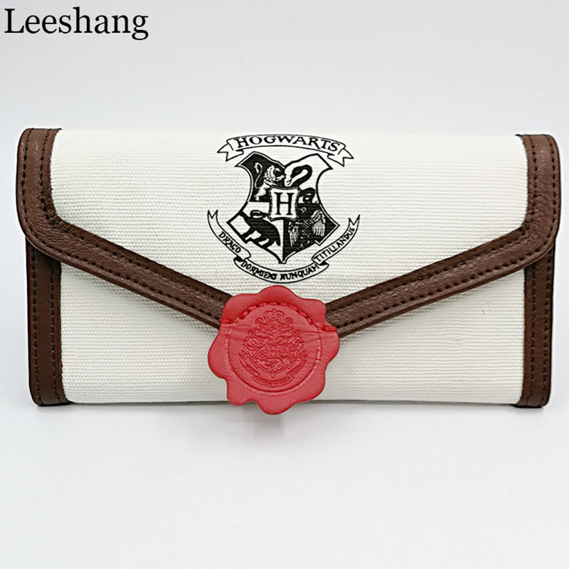 Leeshang Harry Potter Hogwarts Letter Flap Wallet Women Long Mini Three Fold Wallet Cute Student Purse With Credit Card Holder
