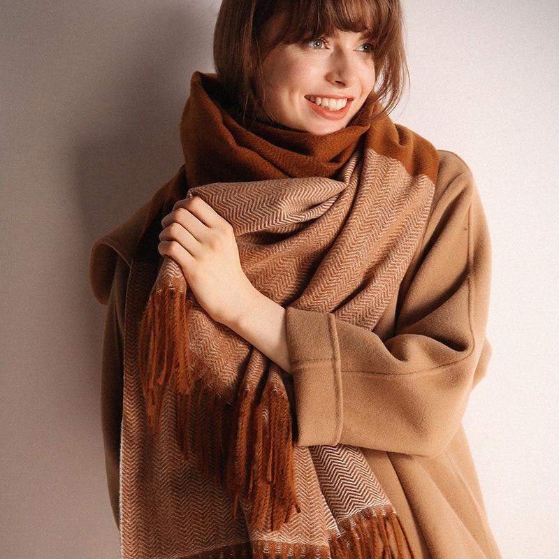 2018 Autumn Winter Cashmere Female Scarf Classic Plaid Kid Scarves Foulard Modern Girl Wool Shawls Women Winter Warm Hombre