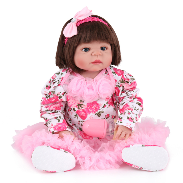 Lovely Real Girl Full Silicone Reborn Baby Dolls 22inch 55cm Rooted