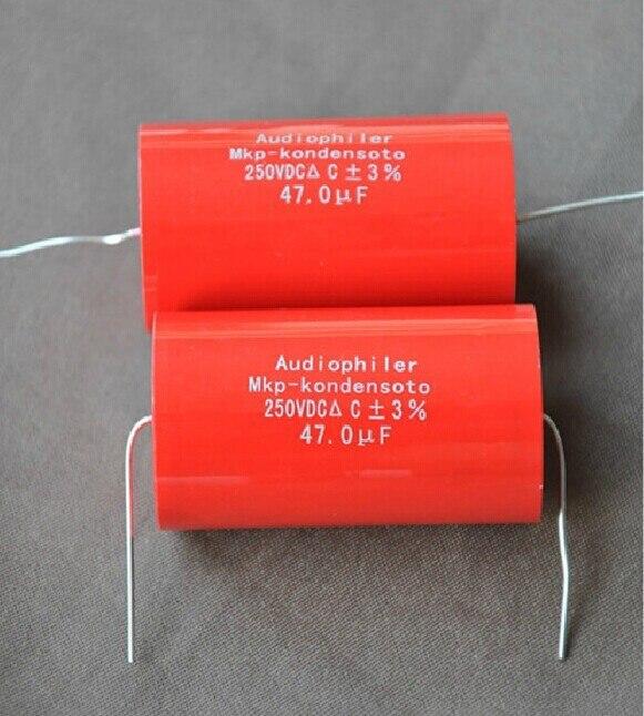 2 STÜCKE Audio Axial Polypropylen Audiophiler MKP 47 uF 250 V Kondensator Für Audio-röhrenverstärker Lautsprecher Schaltung Crossover