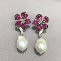 baroque natural fresh water pearl earring 925 sterling silver with cubic zircon flower stud earring luxury jewelry party women