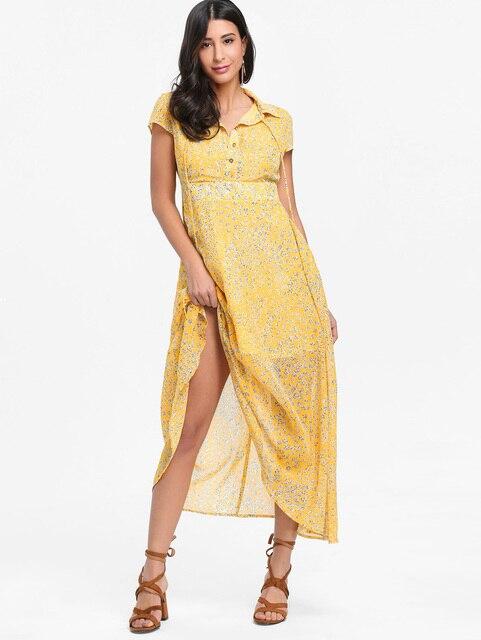 Wipalo Women Floral Maxi Long Dress Half Button Bowknot Short Sleeves Turn  Down Collar Dresses Summer Boho Style Dress Vestidos 42908718a