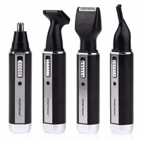 1 Set 4 Heads Waterproof Rechargable Ear Nose Trimmer Electric Shaver Beard Eyebrows Nose Ear Hair