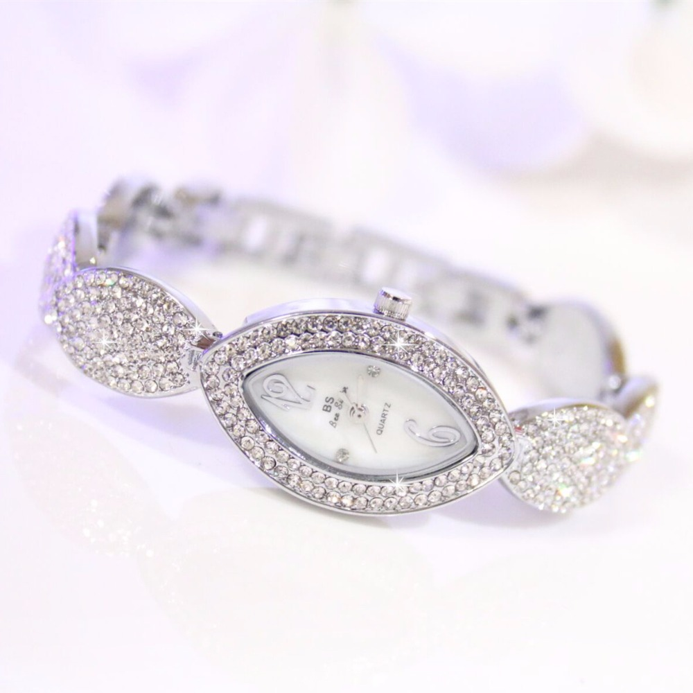 New Arrival Brand BS Luxury Full Diamond Women Watch Lady Eyes Shape Silver Crystal Dress Watch Rhinestone Bangle Bracelet spring big sale brand bs luxury 14k gold diamond women watch lady gold siliver dress watch rhinestone bangle bracelet