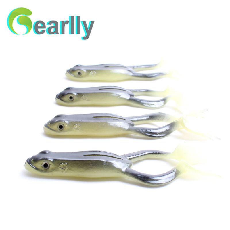 2016 new good quality soft fishing luminous frog lure light in the darkness 10cm