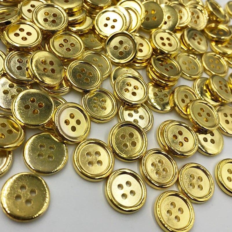 Generous 100 Pcs Gold Plastic Buttons 15mm Sewing Craft 4 Holes Pt190 Harmonious Colors
