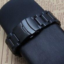 Новый Black Metal Ремешки браслеты ремни Вахта аксессуары высокого качества, на безопасность пряжка развертывания 18 мм 20 мм 22 мм 24 мм