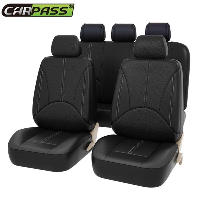 2019 Luxury PU Leather Auto Universal Fundas de asiento de coche Cubiertas de asiento de automóvil para toyota lada kalina granta priora renault logan