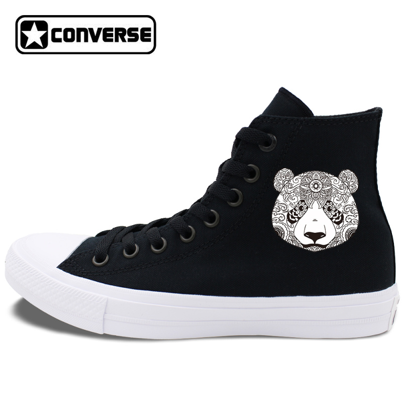 White Black Original Converse Chuck Taylor II Canvas Sneakers Design Animal Panda Totem High Top Skateboarding Shoes jaguar animal totem
