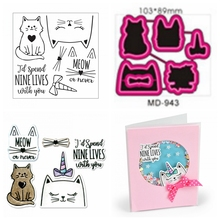Cute Kitty Cat Clear Stamp With Metal Cutting Dies Stencils For DIY Scrapbooking Valentine Decor Embossing Handcraft Die Cutting