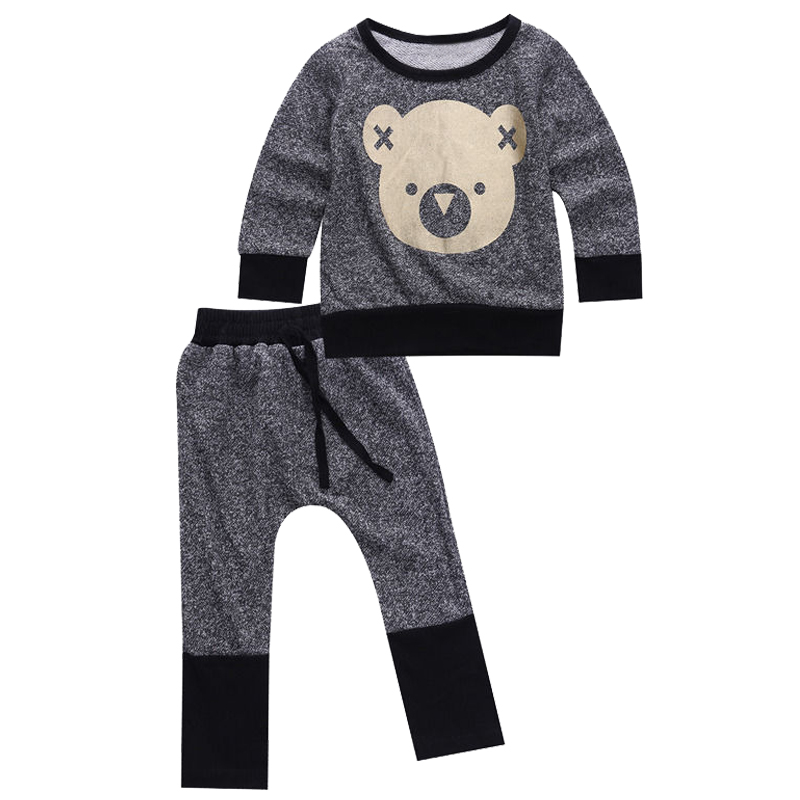 FBIL-2 pcs Toddler Infant Baby Boy Girl Sweat Shirt +Pants Outfit Clothes Set Color:Grey