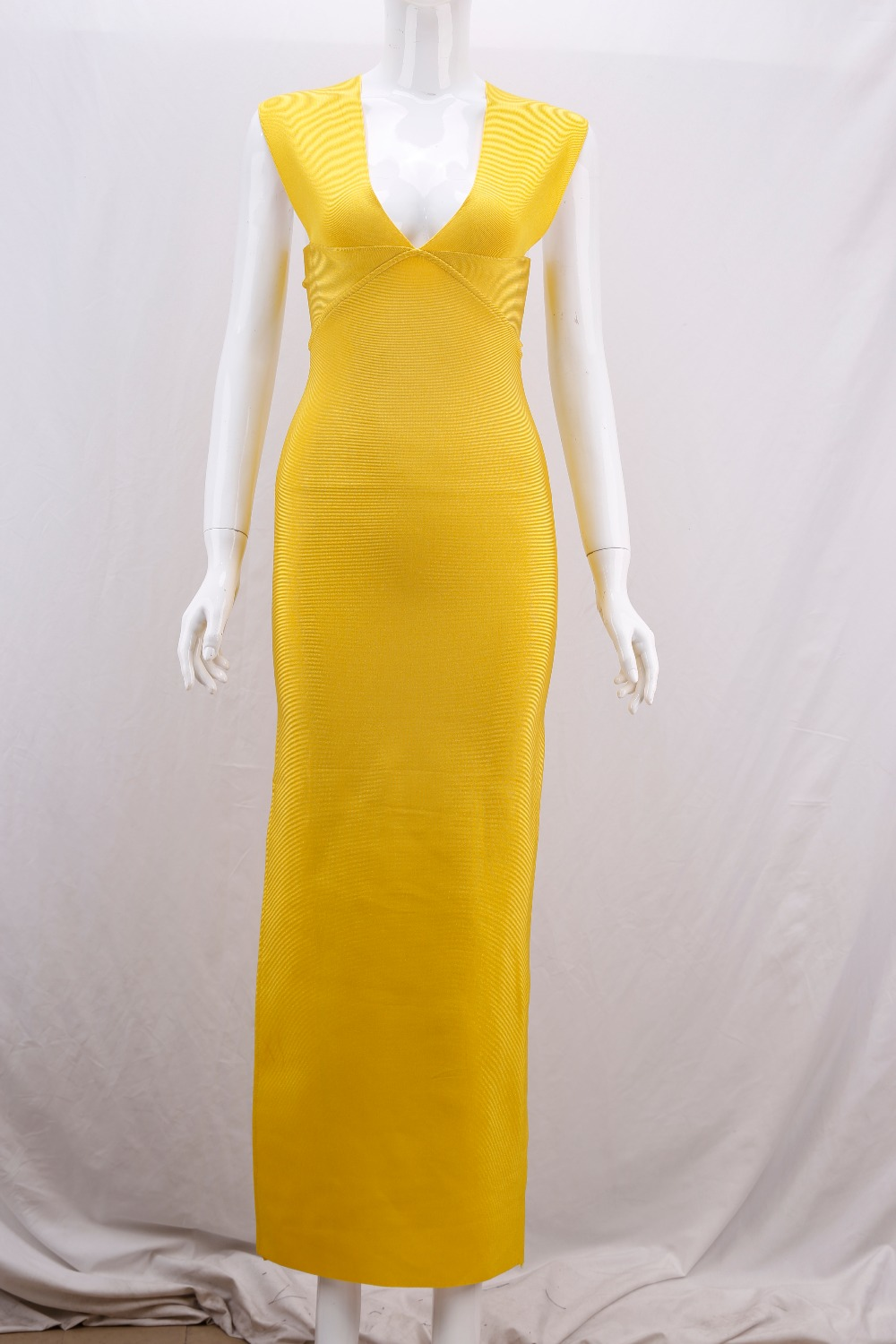 New ladies sexy bandage deep V top quality yellow sleeveless ankle dress cocktail party dress wholesale and retail B20