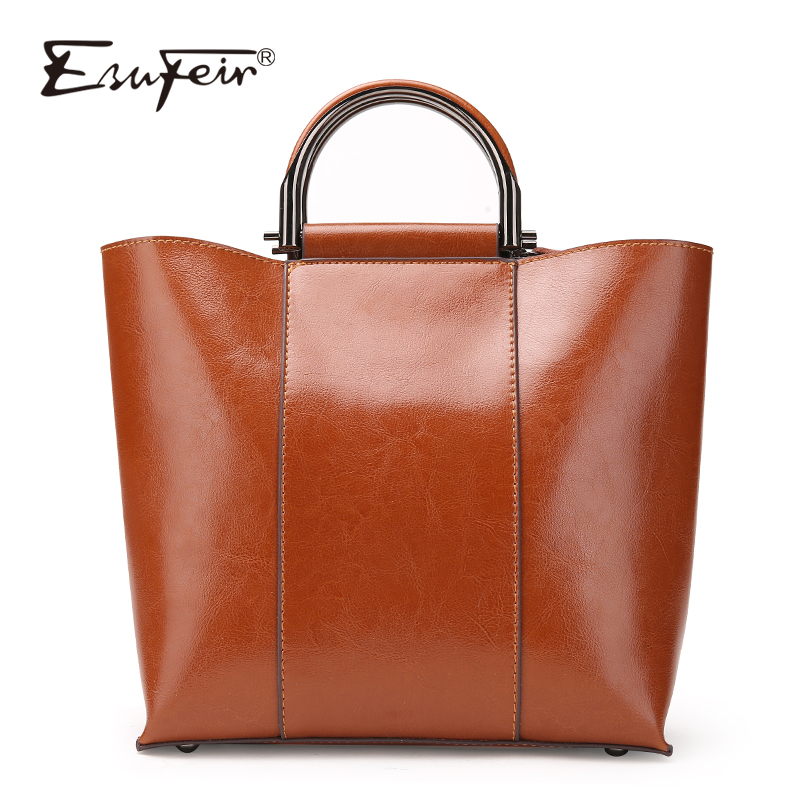 2017 ESUFEIR Brand Genuine Leather Handbag for Women Fashion Oil Wax Leather Shoulder Bag Large capacity Casual Tote Women Bags new 2017 fashion brand genuine leather women handbag europe and america oil wax leather shoulder bag casual women