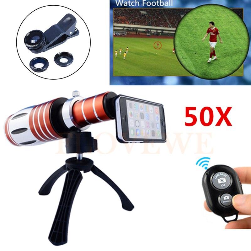 Камера объектив 50X Металл телефото зум Lentes + штатив + чехол + рыбий глаз Широкий формат макро Объективы для samsung S3 s4 S5 S6 S7 края Примечание 7