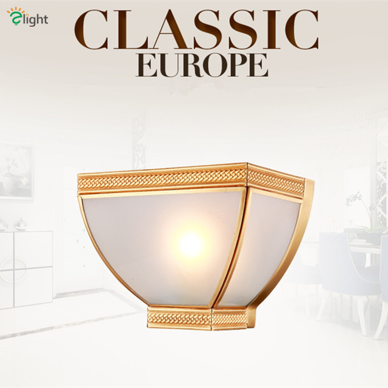 ФОТО Europe Lustre Copper Frosted Glass E27 Wall Lamp Simple Bowl Style Foyer Led Wall Light Classic Copper Corridor Wall Lighting