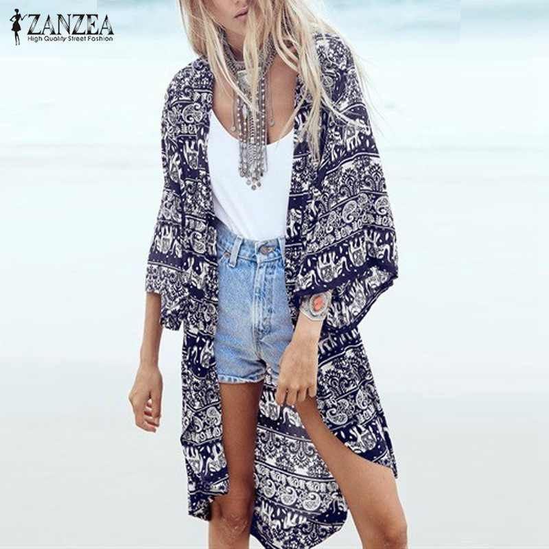 2019 Mode Vrouwen Lente Zomer Blouses Bloemenprint Casual Beach Kimono Vest Dames Lange Blusas Tops Cover Up S-6XL