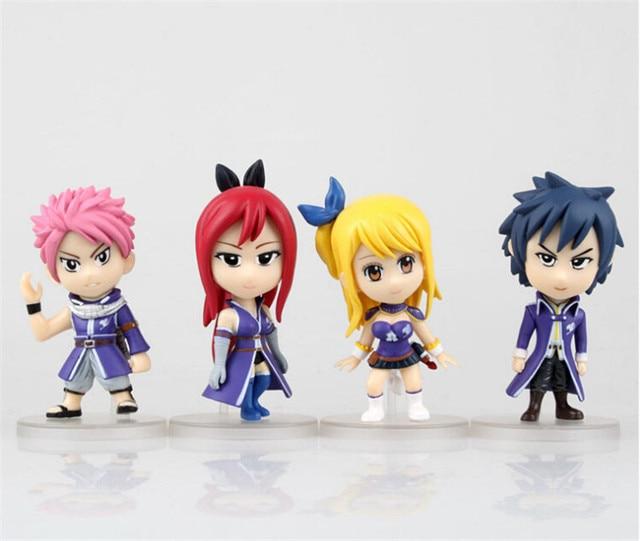 Cute Fairy Tail Natsu Happy Lucy Gray Elza PVC Action ...  Fairy