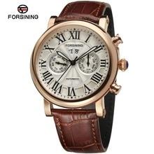 Forsining hombres Reloj de la Marca de Lujo de Oro Rosa Automático Movt Brown reloj del Cuero Genuino Color Blanco FSG9407M3R1