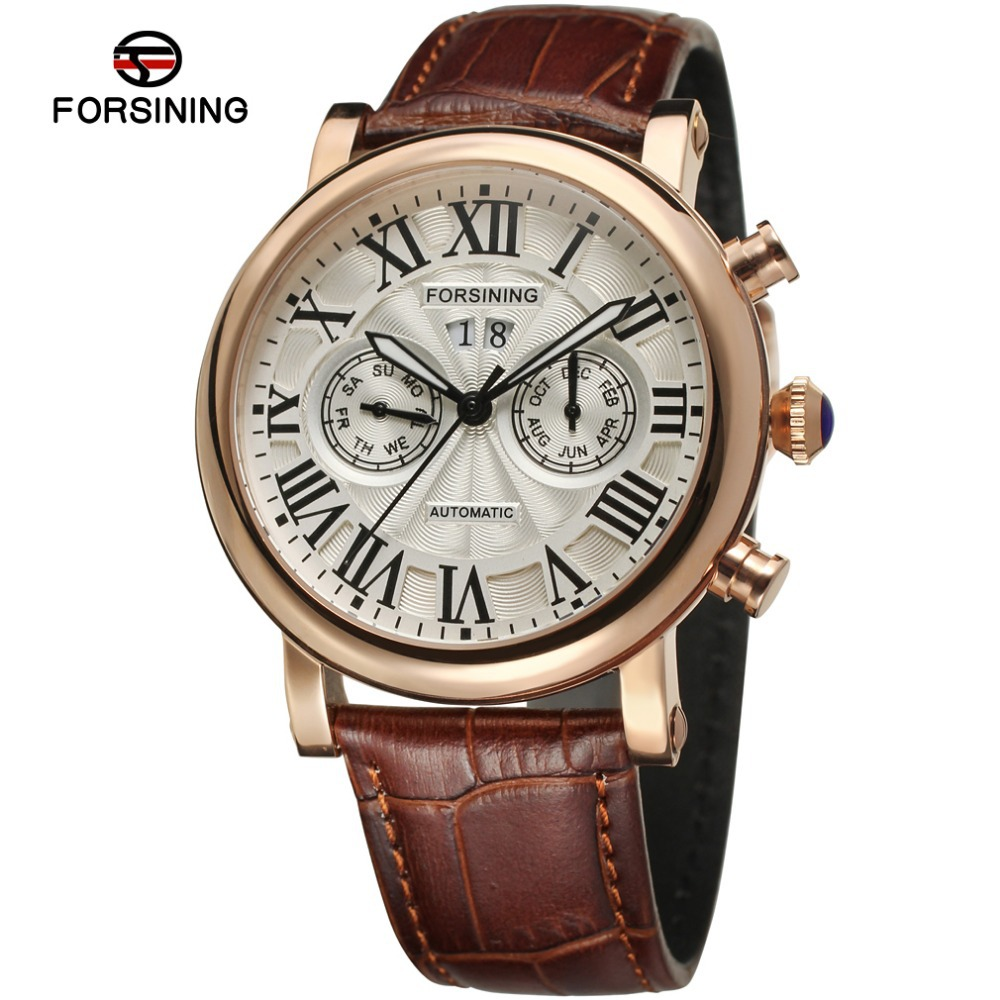 Forsining Mens Watch Luxury Brand Rose Gold Automatic Movt Brown Genuine Leather Wrist watch Color White FSG9407M3R1