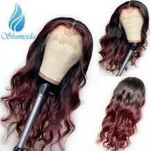 SHD 1b/#99j Color Lace Front Wigs Pre Plucked Remy Human Hair Body Wave Brazilian Ombre 13*6