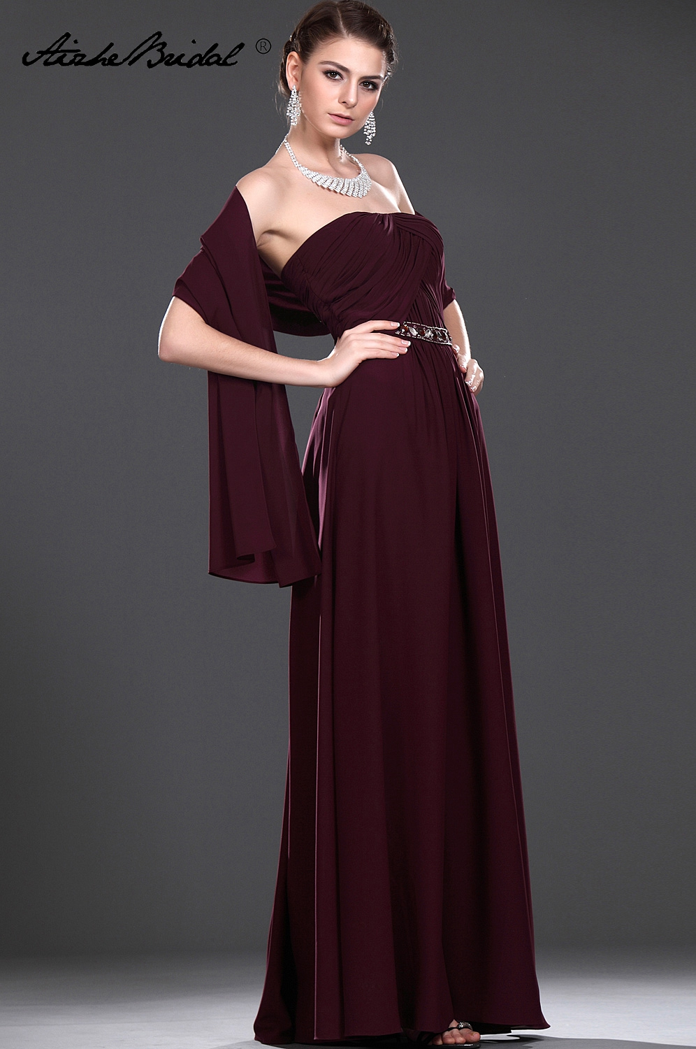 Wedding Party Dress Long Mother Of The Groom Dresses Strapless Burgundy Chiffon Mother Of The Bride Dress With Shawl