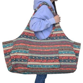 Вместительная женская холщовая сумка (weisuer/74х30х23 см) с карманами