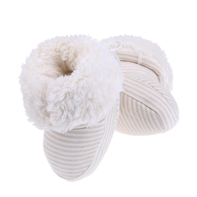 Baby Shoes Winter Thick Warm Boots Newborn Striped Prewalker Cotton First Walker Fleece Baby Soft Footwear