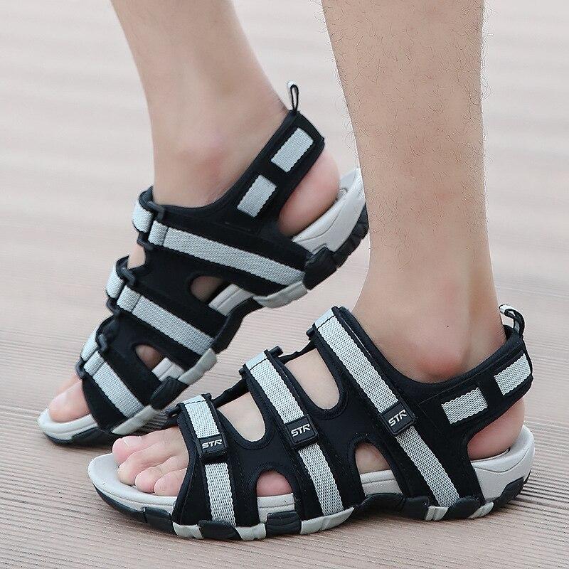 Fashion Casual Solid Gladiator Sandals for Men Basic Flat Beach Sandals Hook Loop PU Platform Sandale Homme 5