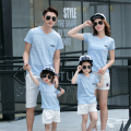 Family Clothing Sets Mother,Daughter,Father and Son Cotton T-shirt+Solid Short Fashion Family Look 2017 Summer Matching Outfits
