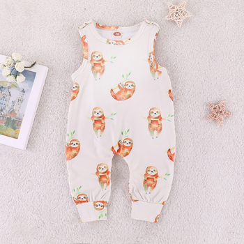 2018 Newborn Baby Rompers 2019 Summer sleeveless Cartoon sloth print Baby boy girl jumpsuit clothing