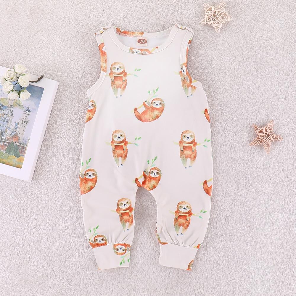 2018 Newborn Baby Rompers 2019 Summer sleeveless Cartoon sloth print Baby boy girl jumpsuit clothing