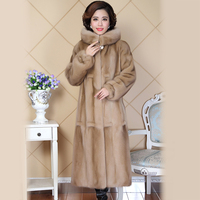 Nerazzurri High Quality Real Mink Fur Coat For Women Full Sleeve China Thick Warm Luxury Long Hooded Genuine Natural Mink Coats