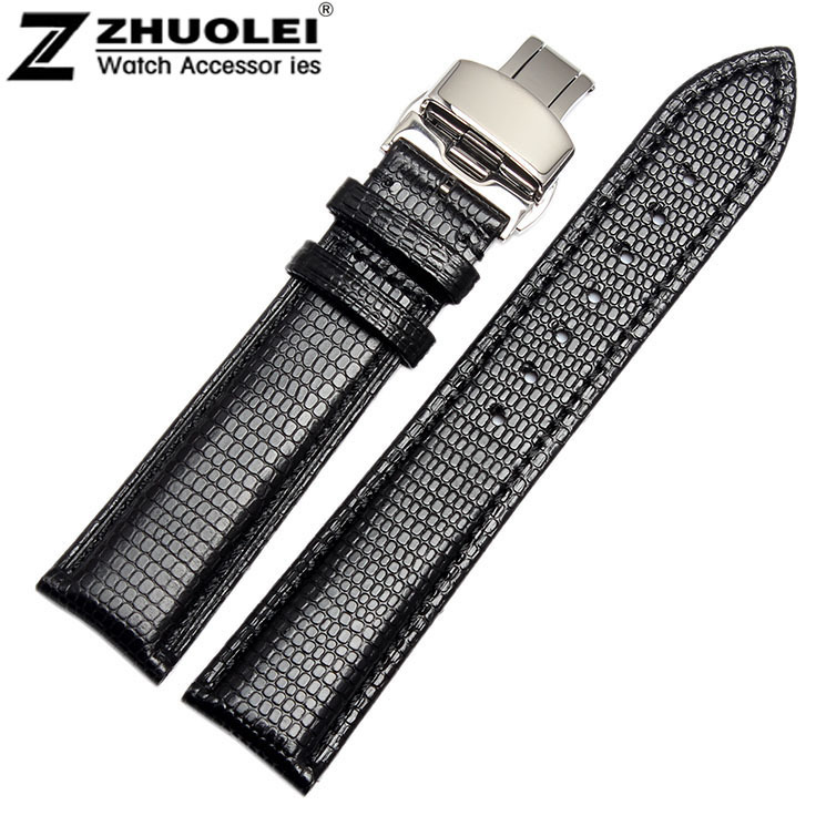 18mm 20mm 22mm 24mm New Watches Genuine Leather Wrist Watch Band Strap Women Men Butterfly Watch Buckle цена
