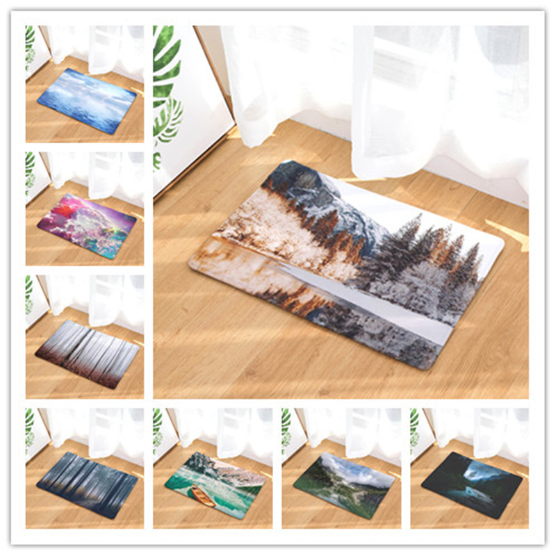 Landscape Printing For Living Room Flannel Carpet Religious Pattern Bathroom Mat 40x60cm Hallway Rectangle Tapete