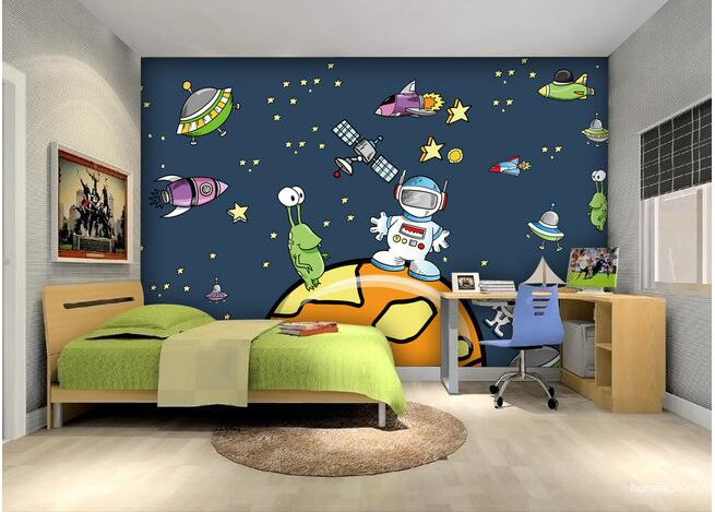 цены 3d wallpaper custom mural non-woven 3d room wallpaper Cartoon star universe spacecraft large murals photo wallpaper for walls 3d