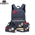 2017 New Girl School Student Backpack Cute Bow 3 Pieces Polka Dot Crossbody Bags for Women Travel Bags Bookbag Kids Pencil Case