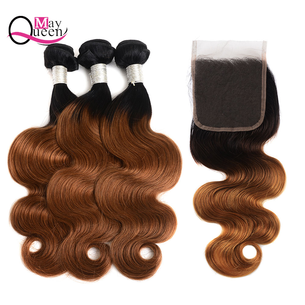 May Queen Hair OmbreT1B/30 Peruvian Body Wave Hair Weave Bundles With Lace Closure Two Tone Color Remy Hair Extension Human Hair