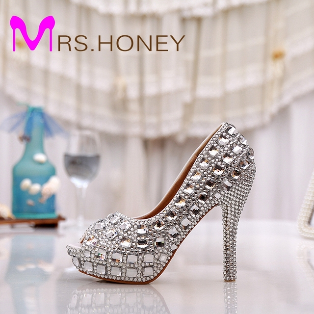 Elegant Silver Color Peep Toe Party Prom Women High Heels 5 Inches Bridal  Wedding Shoes Silver Rhinestone Crystal Handmake Shoes 9792e776ba66