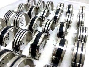 Image 3 - 100 個バルクロット 8 ミリメートル 316L ステンレス鋼結婚指輪黒エナメルリング男性ジュエリー