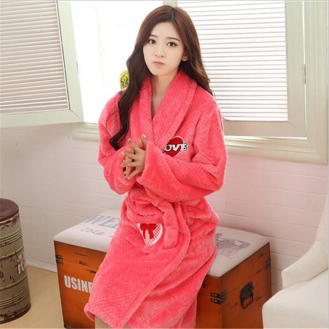 f19662ad39 Women Soft Warm Coral Fleece Long Bathrobe Winter Kimono Flannel Bath Robe  Nightgown Womens Dressing Gown Sleepwear Spa
