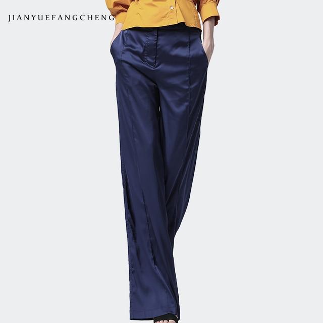 2019 الصيف المرأة لينة الحرير السراويل السراويل عالية الخصر واسعة الساق جيب مطوي عادية الشارع الشهير سروال فستان للنساء